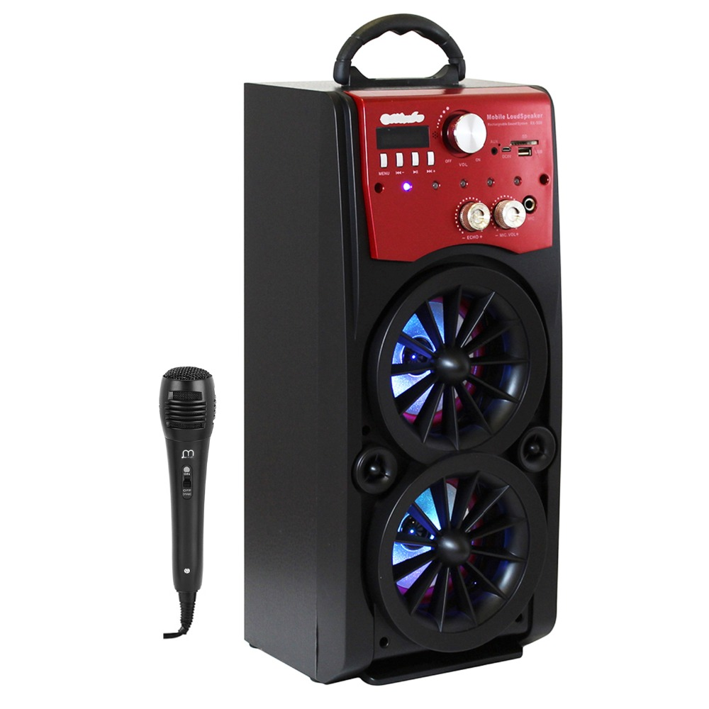 Karaoke Bluetooth Speaker Portable with Microfono HiFi FM Radio USB LED Remote Control