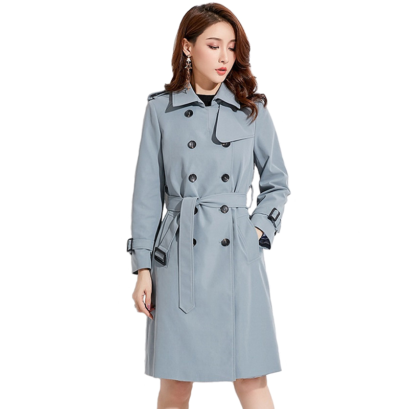 High quality   Trench   Coat Women 2019 Spring Autumn Solid color Long-sleeved Suit collar Double-breasted Female Windbreaker A2454
