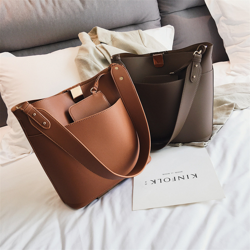 Casual Large Buckets Bag For Women Designer Wide Strap Shoulder Bags Luxury Pu Leather Crossbody Bag Lady Big Totes Female Purse
