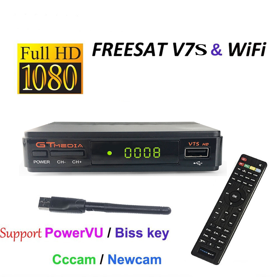 [Genuine]F V7S HD Satellite Receiver Full 1080P+1PC USB WiFi DVB-S2 HD Support Ccam powervu youpron set top box power vu hellobox gsky v7 5pcs hd powervu autoroll iks ccam dvb s2 receiver tv box better than freesat support tandberg patch