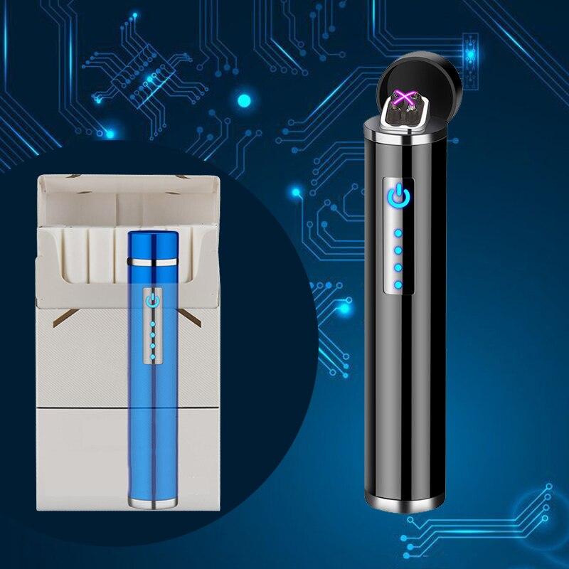 Мини плазменная зажигалка с двойной дугой, цилиндрическая электрическая зажигалка, перезаряжаемая USB Зажигалка, защищенный от ветра для ку...