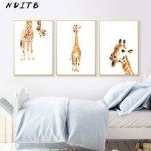 Giraffe Canvas Poster Woodland Animal Nurser Print Wall Art Painting Nordic Kids Decoration Picture Baby Children Bedroom Decor
