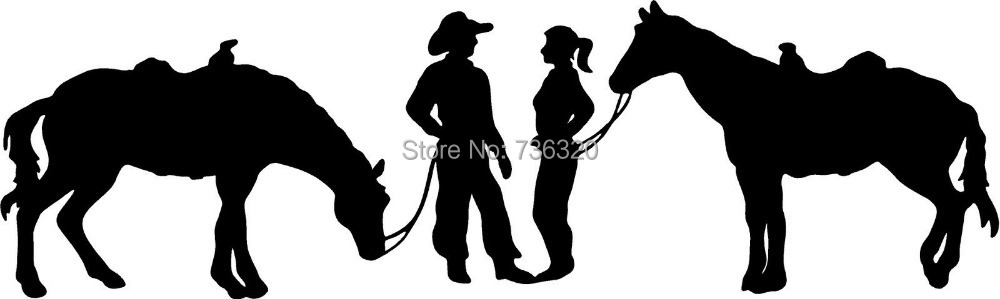 COW BOY & WOMAN WITH HORSES WALL ART VINYL DECAL Mural Art wall decor Romoveable Home decoration