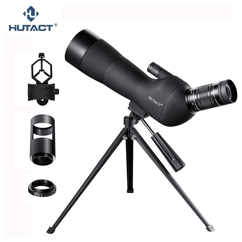 HUTACT Zoom Spotting Scope For Birdwatching 20-60x60 Telescopio Terrestre Hunting Tool Tripod Phone Adapter High Definition free shipping gomu angled 20 60x60 zoom spotting scopes monocular for birdwatching with tripod cell phone adapter