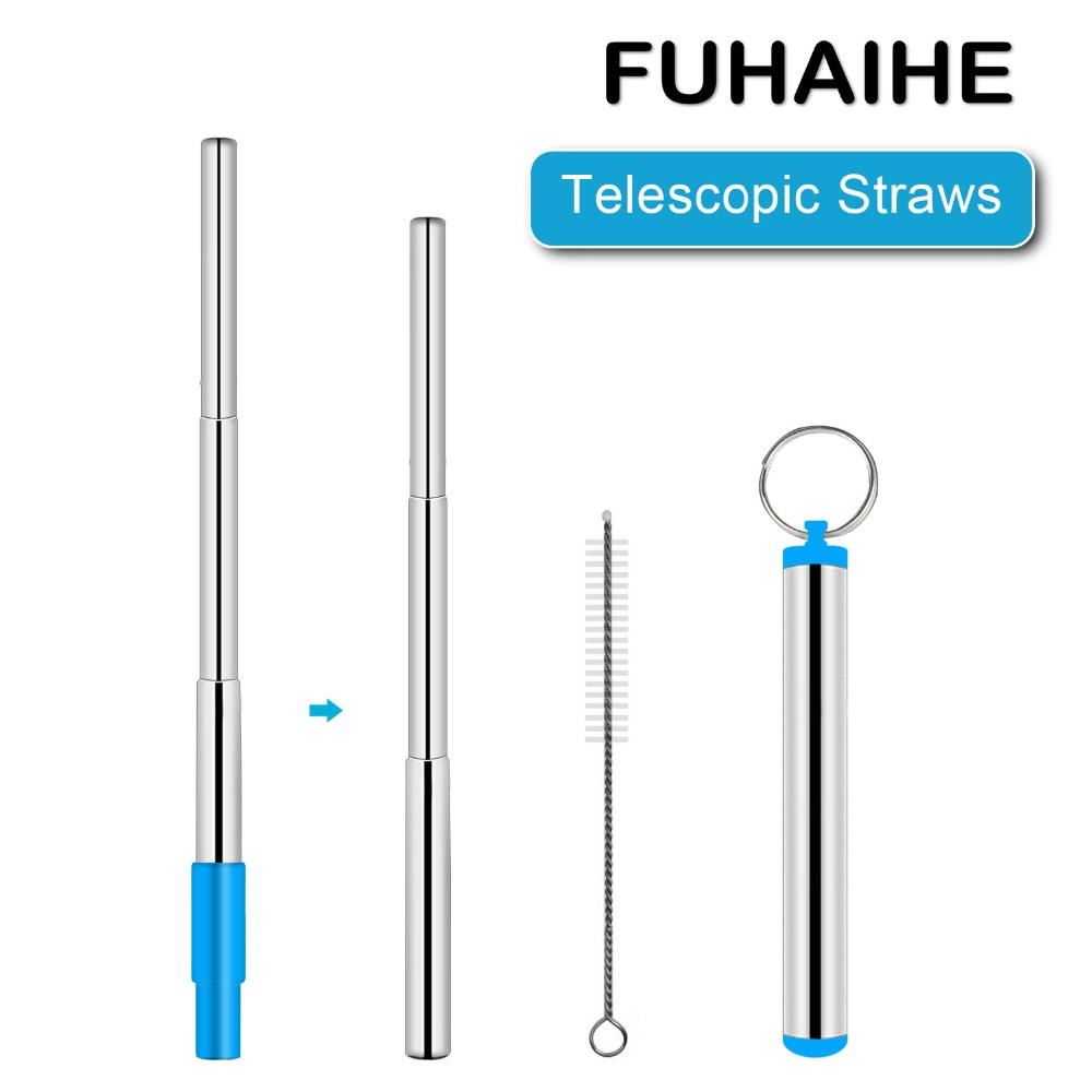 FUHAIHE 50PCS Lot Portable Stainless Steel Telescopic Drinking Straw Travel Straw Reusable Straw with Brush Metal