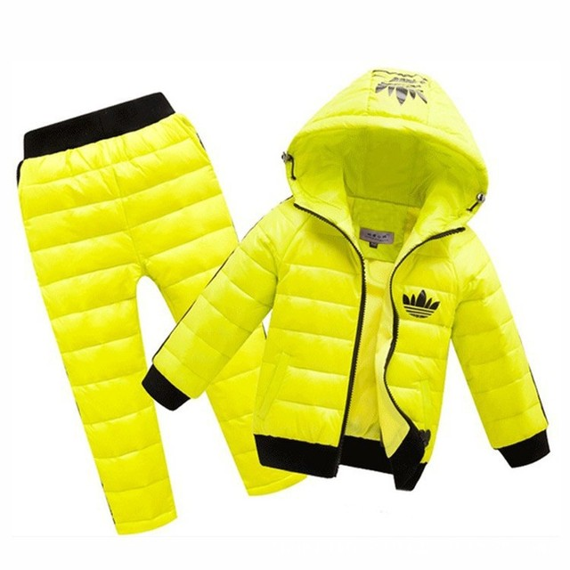 2017 Down Jacket Hoodies + Calças de Neve À Prova D' Água crianças Quentes Roupas de Jogging Ternos conjuntos de Roupas Novas Crianças Meninos meninas 2-8year