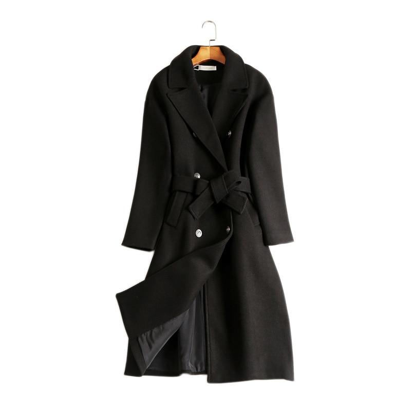 Veste Longues Manteaux Automne À Mélanges Mince Acrmrac Manteau Noir Ceinture Manches Laine En Femmes Longue E8qppIZ