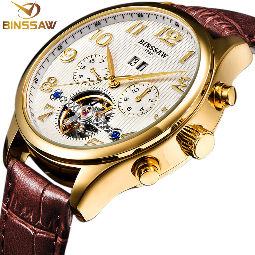 BINSSAW Top Brand Mens Luxury Watches Tourbillon Automatic Mechanical Watch Business Fashion Gold Leather Wrist Watch Relogios mens watches top brand luxury 2017 aviator white automatic mechanical date day leather wrist watch business reloj hombre