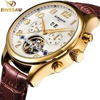 BINSSAW Top Merk Mens Luxe Horloges Tourbillon Automatische Mechanische Horloge Business Mode Goud Lederen Polshorloge Relogios-in Mechanische Horloges van Horloges op