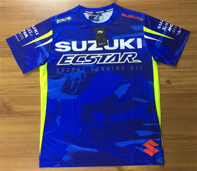 Moto GP Team Racing Fashion Casual Jersey For Suzuki Blue T-shirt Riding Off-Road Clothes light blue lace details off shoulder hollow t shirt