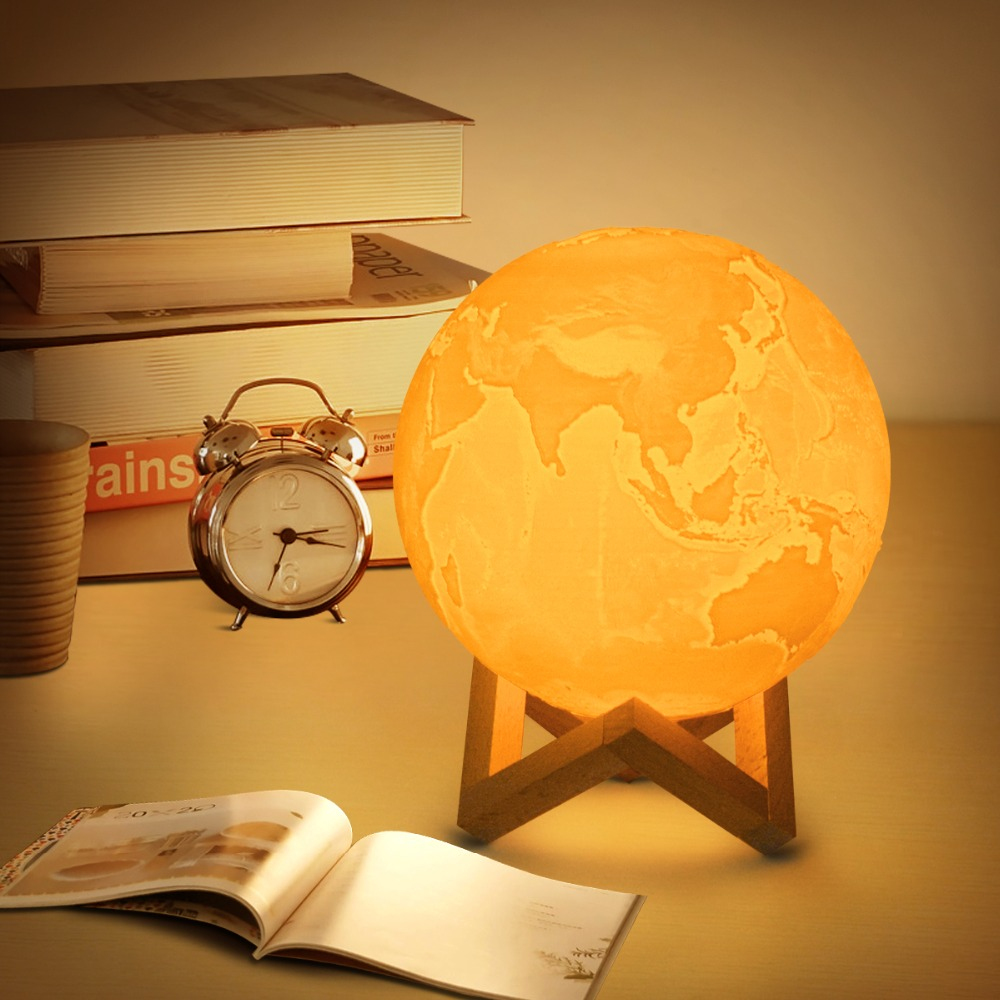 USB LED Rechargeable 3D Print Earth Moon lamp Touch Switch Sensor Dimmable Desk Table lamp Bedroom Bookcase Decor Night light 10 20cm 3d printed moon lamp led baby night light table desk lamp usb charging wooden base touch lunar lamp for bedroom birthday
