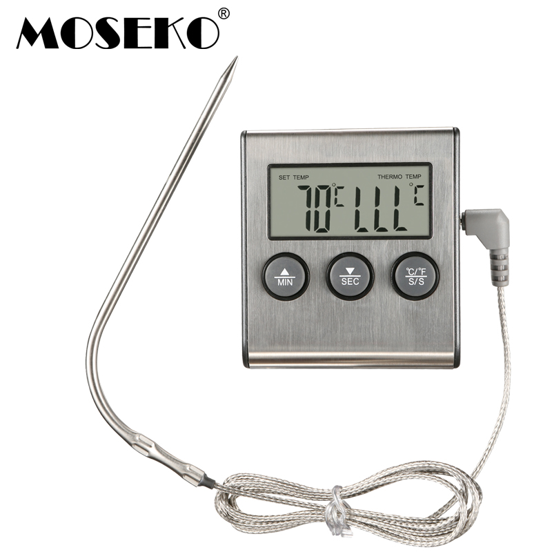 MOSEKO Digital Kitchen Thermometer Oven Makanan Memasak Daging BBQ Probe Thermometer Dengan Timer Susu Air Alat Memasak Suhu