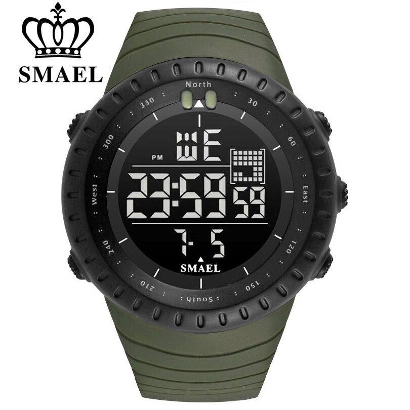 SMAEL Hommes Sports de Plein Air Électronique chronographe 2018 Nouvelle Hommes de Montre Grand Cadran Numérique 50 M étanche Numérique LED Poignet montres