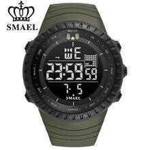 SMAEL Men Outdoor Sports Electronic chronograph 2017 New Men's Watch Big Dial Digital 50M waterproof Digital LED Wrist Watches