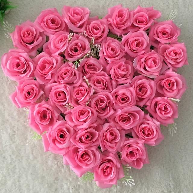 Hot 40x38cm Multicolor Artificial Silk Heart Shape Lovely Rose