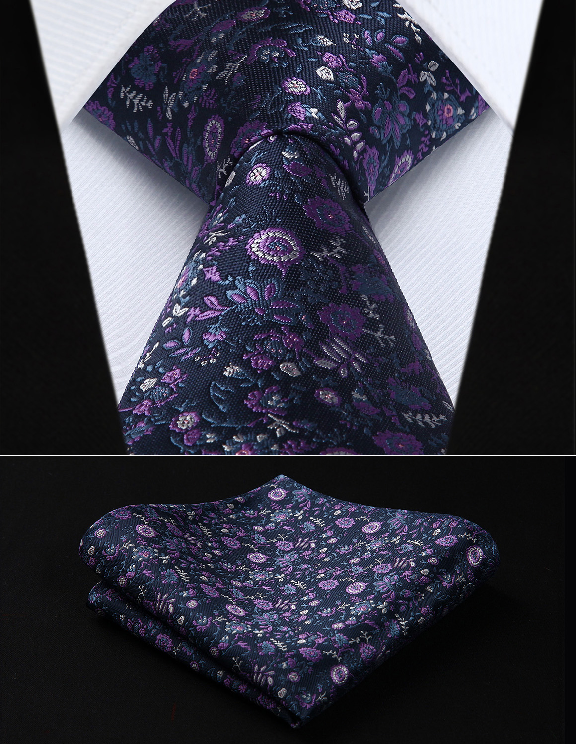 Party Wedding Classic Pocket Square Tie TF704P8S Navy Blue Purple Floral 3.4