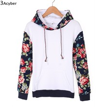 2017 Sweatshirt Women Hoodies Patchwork Flower Printed Pullover Sweatshirts Full Sleeve Autumn Women Hoodies Tracksuit with Hat