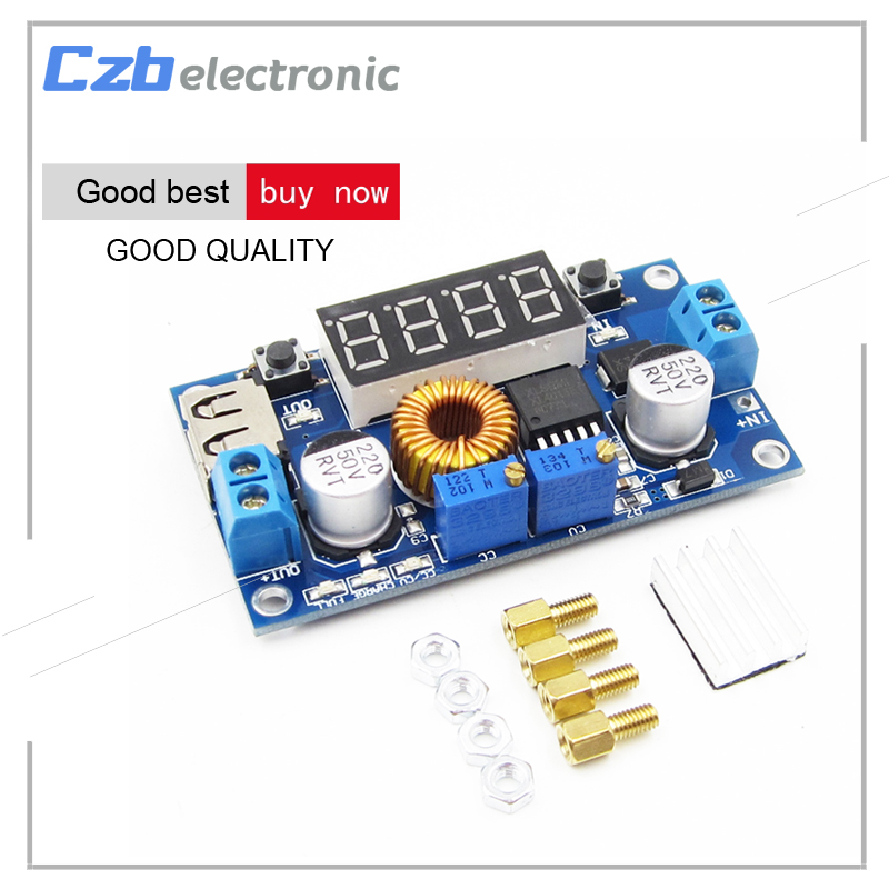 DC-DC 5A LED Drive Lithium Battery Charger Module with Voltmeter Ammeter LED Digit Display 100 pcs ld 3361ag 3 digit 0 36 green 7 segment led display common cathode