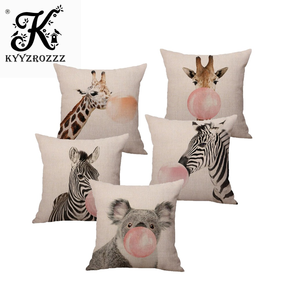 Home Textile Cushion Cover Cartoon Cushion Pillow Cover Fashion Print Style Animal Cushion Cover Chair Sofa Pillow Case Creative Handsome Seat