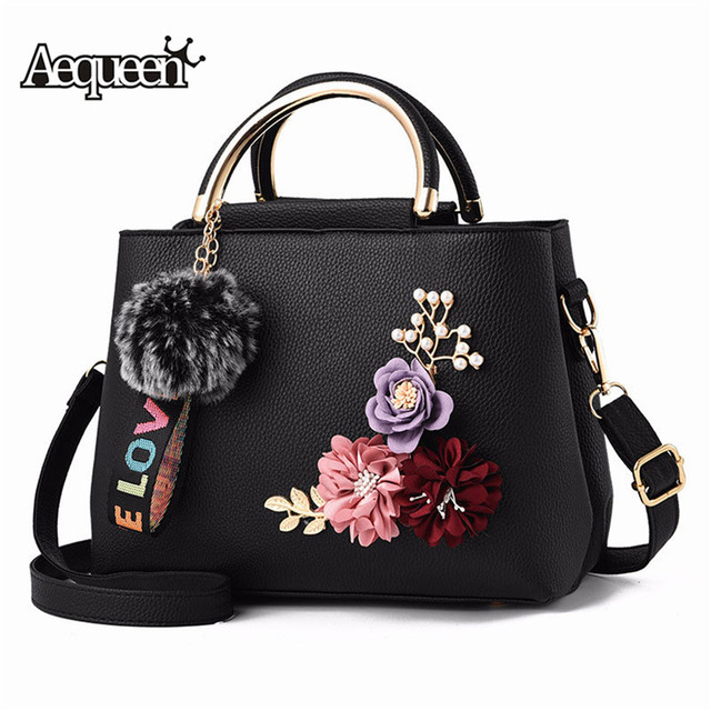 AEQUEEN Sac A Main Femme Color Flowers Shell Women's Tote Leather Clutch Bag Small Ladies Handbags Brand Women Messenger Bags