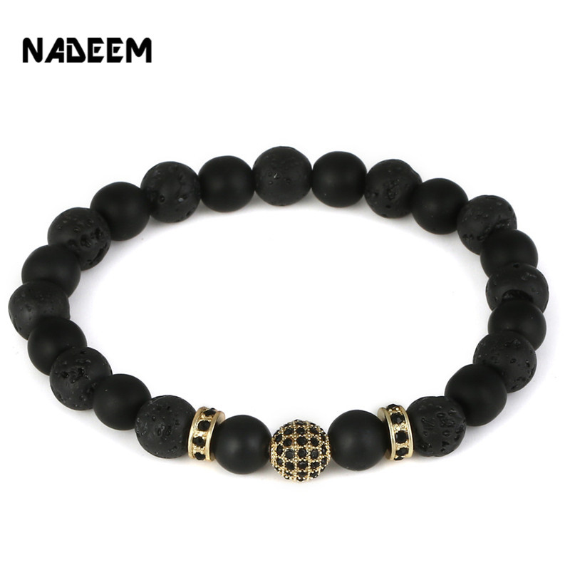 NADEEM Fashion Black CZ Copper Ball Men Bracelet Natural Matte & Lava Stone Bead Charm Bracelet Men Jewelry Yoga pulsera hombres