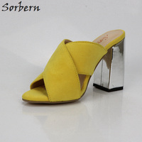Sorbern Yellow Wide Cross Straps Women Square Heels Womens Shoes Mules Summer Slides Custom Colors Size 14