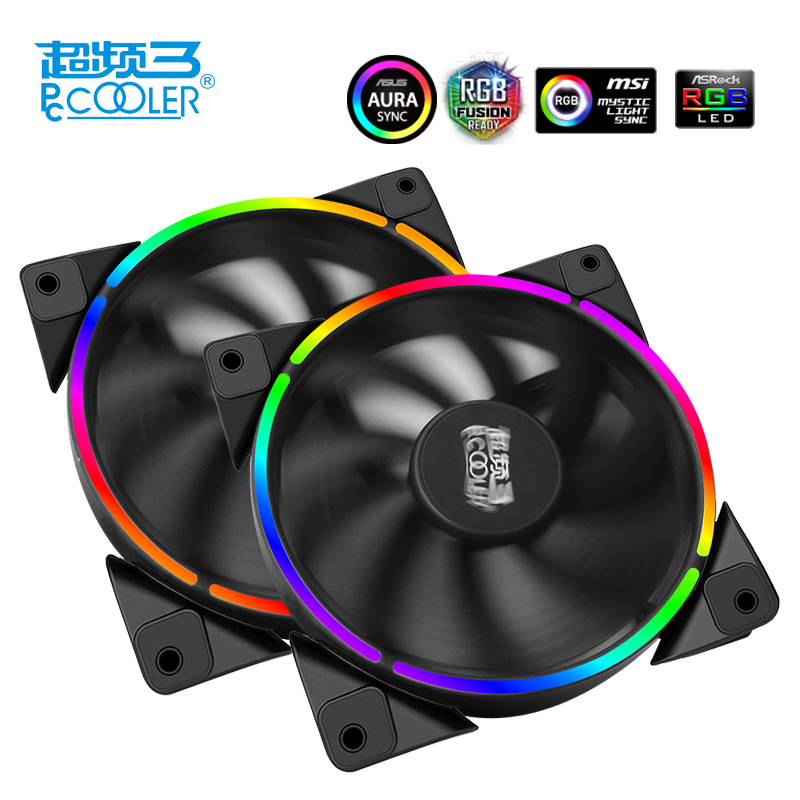 Image 3 - PcCooler 12cm case fan Halo LED AURA RGB 4pin PWM Quiet Suit for CPU cooler Water cooling 120mm computer cooling PC fan 1 PCS-in Fans & Cooling from Computer & Office