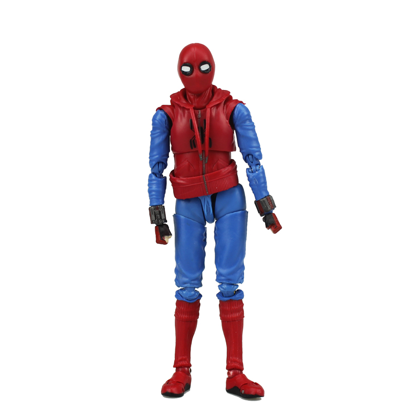 6 The Avengers Super Hero Home Coming SHF Spiderman Moveable Boxed 14cm PVC Action Figure Collection Model Doll Toys Gift new hot 10cm spider man avengers super hero action figure toys spiderman doll christmas gift with box