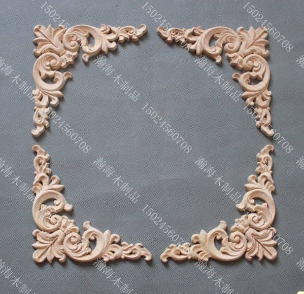 4Pieces/Lot 14x14x0.8cm Wood Decal European Furniture Accessories Solid Wood Trim