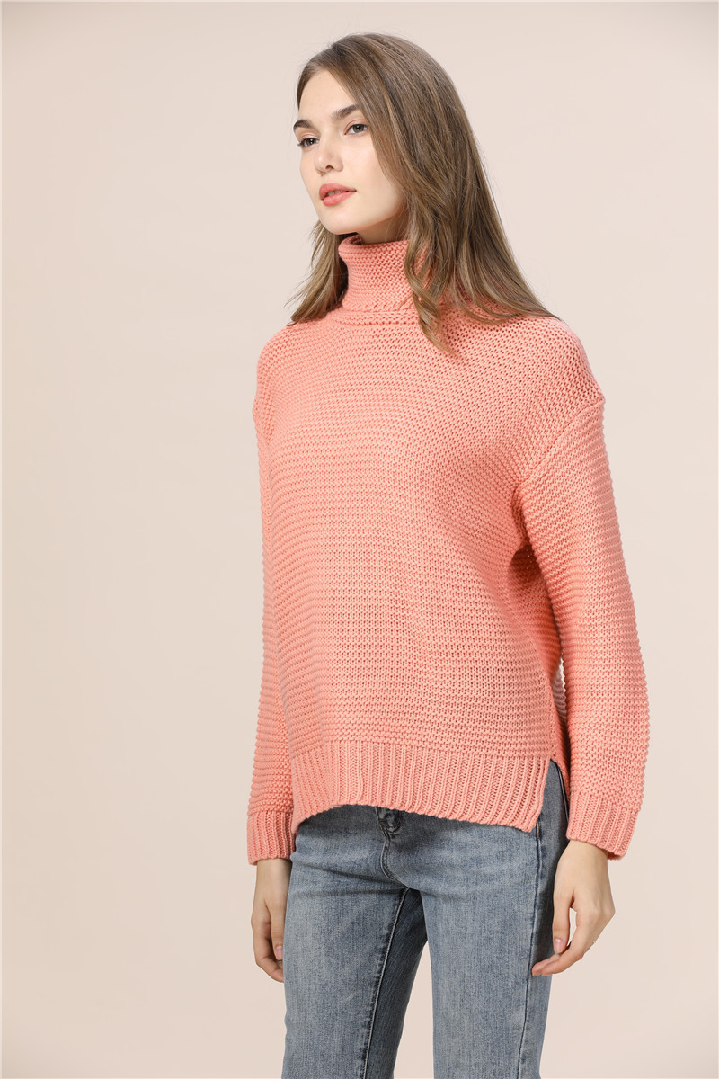 Casual Loose Autumn Winter Turtleneck Sweater Women Oversize Solid Knitted Sweaters Warm Long Sleeve Pullover Sweater Black Pink 7
