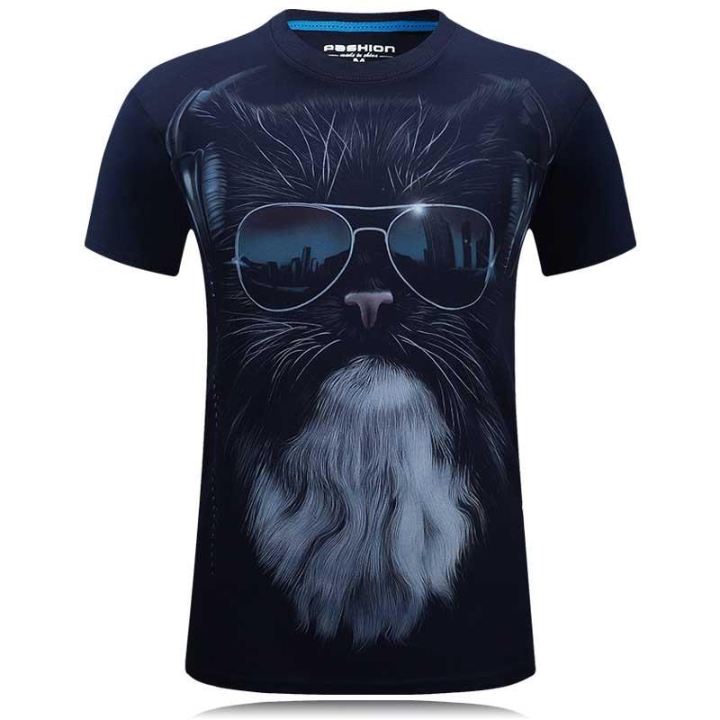 3D-s póló Férfi 2018 nyári divat vicces póló farkas Nyomtatott O-nyak és mérete 6XL hip-hop ruházat fekete hűvös Férfi felsőtestek