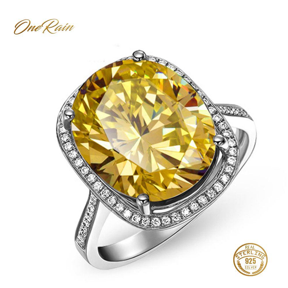 OneRain Elegant 100% 925 Sterling Silver Pink Sapphire Citrine Wedding Engagement Party Cocktail Ring Jewelry Wholesale Size 6-9