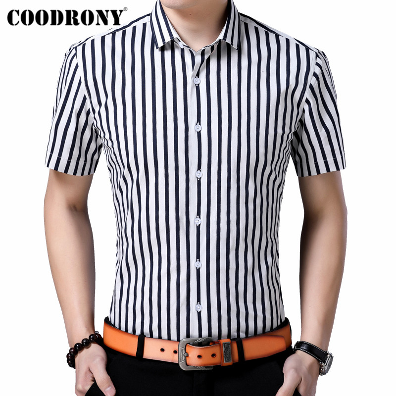 COODRONY Men Shirt Spring Summer Streetwear Fashion Striped Slim Fit Short Sleeve Clothes Cotton Casual Shirts S96073