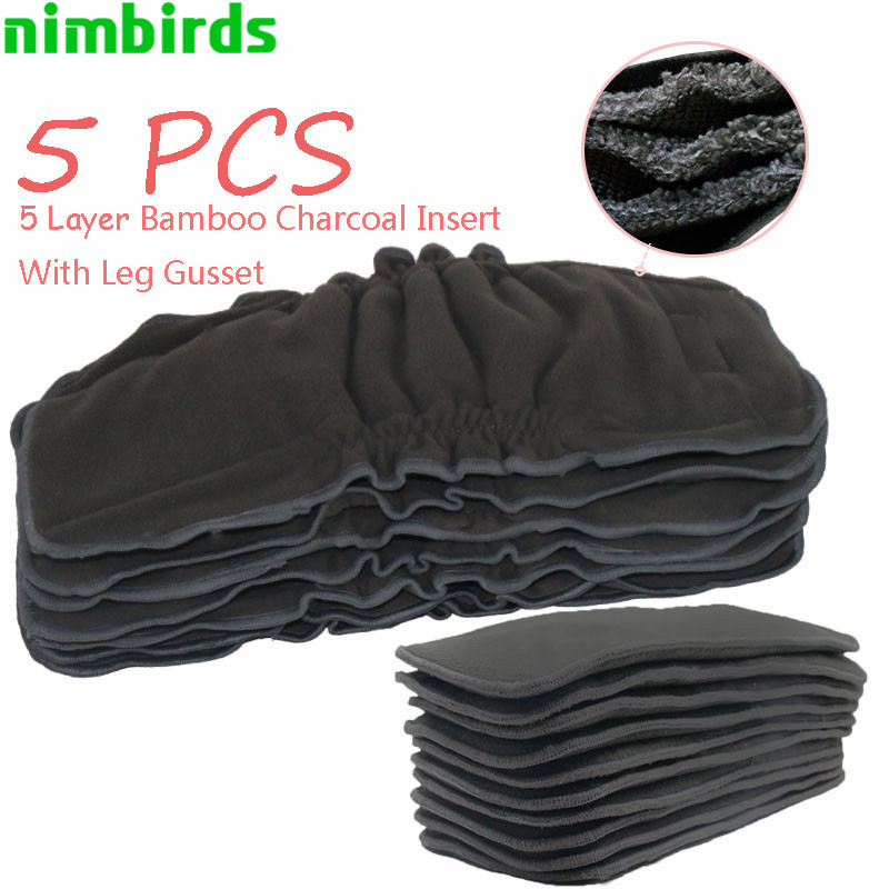 5 PCS Reusable Bamboo Charcoal Insert Baby Cloth Diaper Nappy, 5layer Each Charcoal Diaper Insert Cloth Diaper Insert