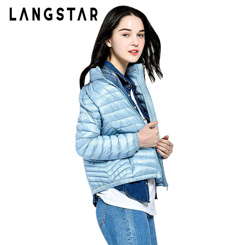 LANSGATR Plus Size   Down     Coats   Women Stand Collar Long Sleeve Solid Packable Lightweight White Duck   Down   Jacket Winter   Down     Coat