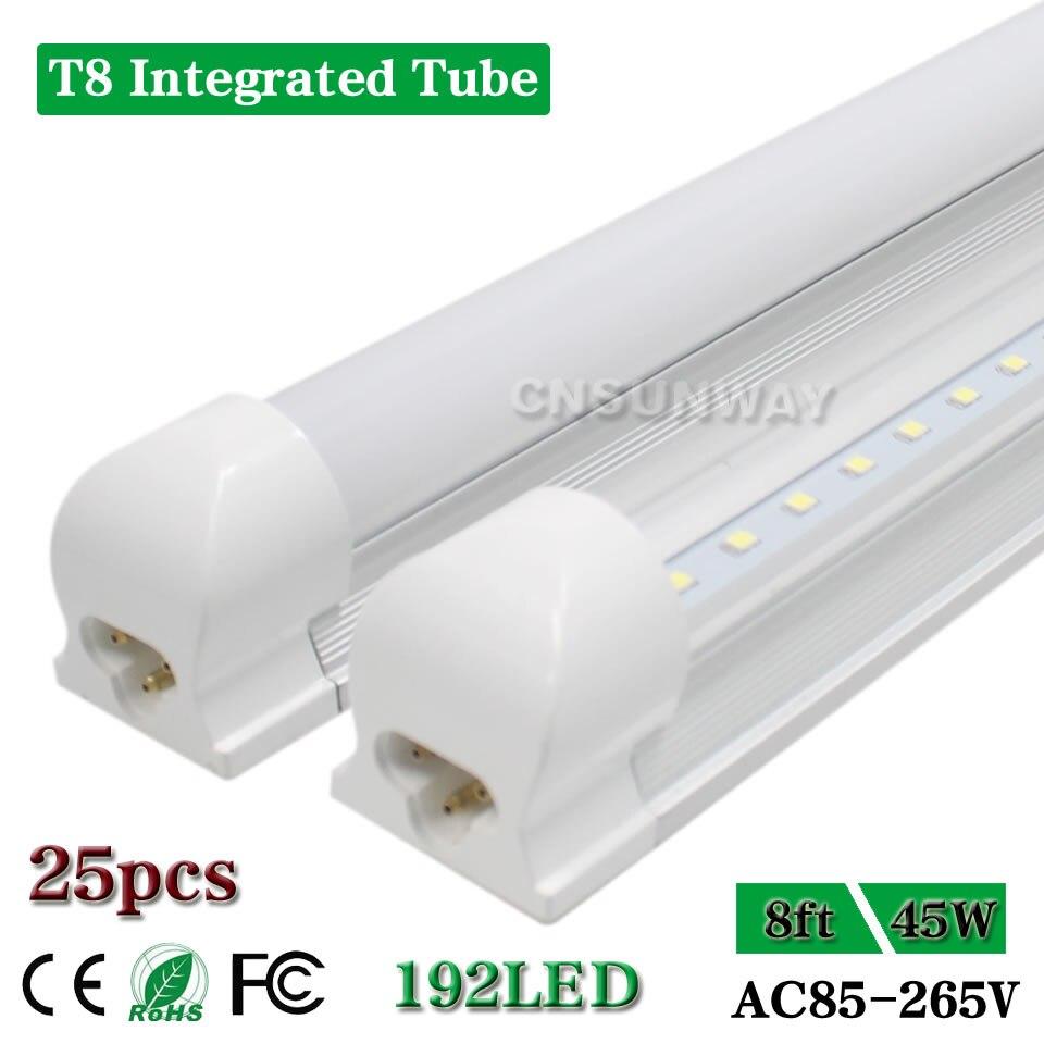 Us 368 42 Integrated T8 8 Foot Led Tube Light 8ft 96inches Led Light Tubes Cooler Door Bulb Lamp Fixture Garage Shop Fluorescent 45w 25pcs In Led