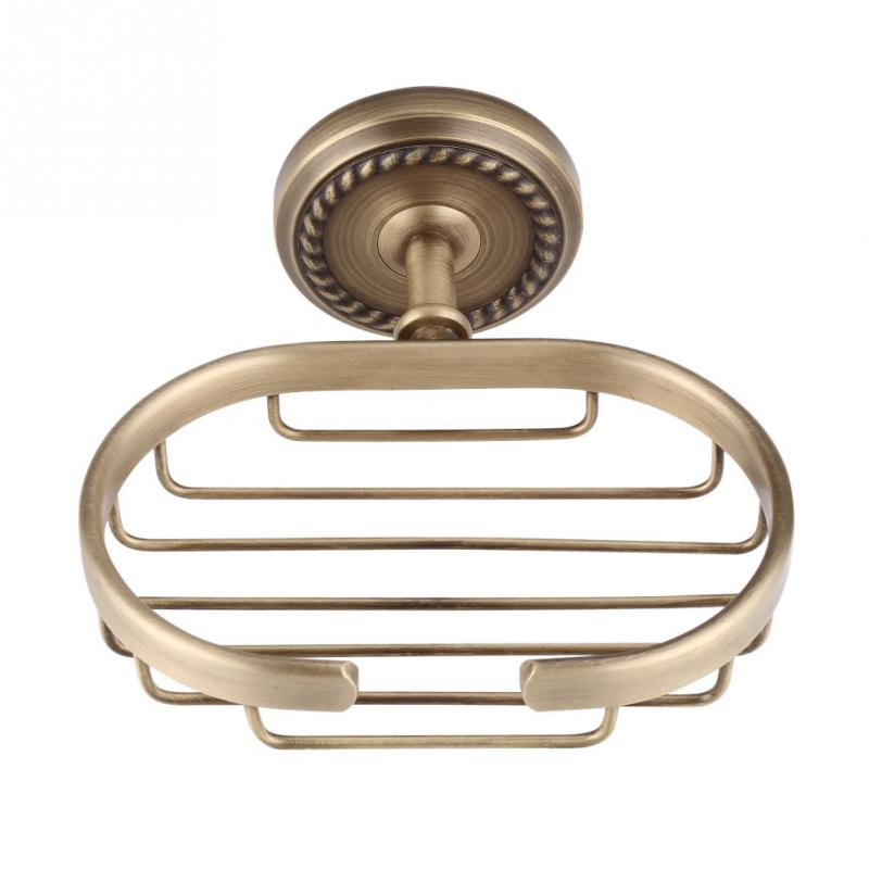 Vintage Style Soap Basket Solid Brass Soap Basket Dish Holder Wall Mount Bath Shower Storage Shelf Rust-resistant Saver Basket creative style antique brass toilet paper holder bath storage basket wall mount