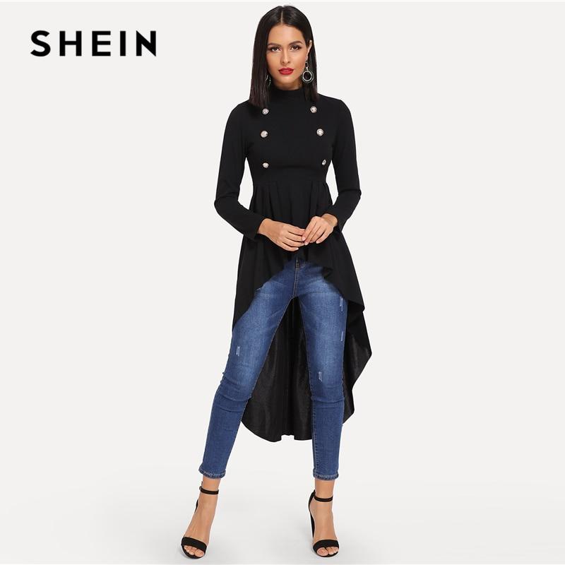 SHEIN Mock Neck Double Breasted Front Dip Hem Top Elegant Ruffle Asymmetrical Longline Blouse Women Autumn Flared Blouses