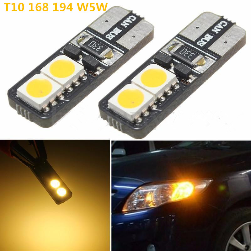 2x Warm White 2700-3200K 12V T10 W5W 168 194 5050 100LM LED 4SMD Canbus Error Free Car Wedge Light Bulb Auto Lights 4x canbus error free t10 194 168 w5w 5050 led 6 smd white side wedge light bulb