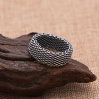 S925 Silver Taiyin Jewelry Popular Handmade Silver Braided Men's Personality Retro Male Ring