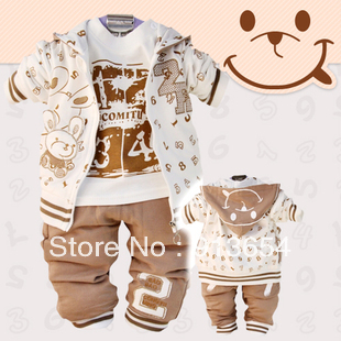 Retail new 2015 spring autumn baby clothing set children's sports suit boys sportswear baby coat t shirt pants 3pcs casual sets