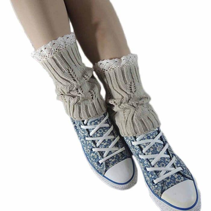 2017 New Hot Women Winter Knitted Leg Warmer Fashion Lace Stretch Diamond Hollow Crochet Knit Trim Boot Socks Cuffs Toppers
