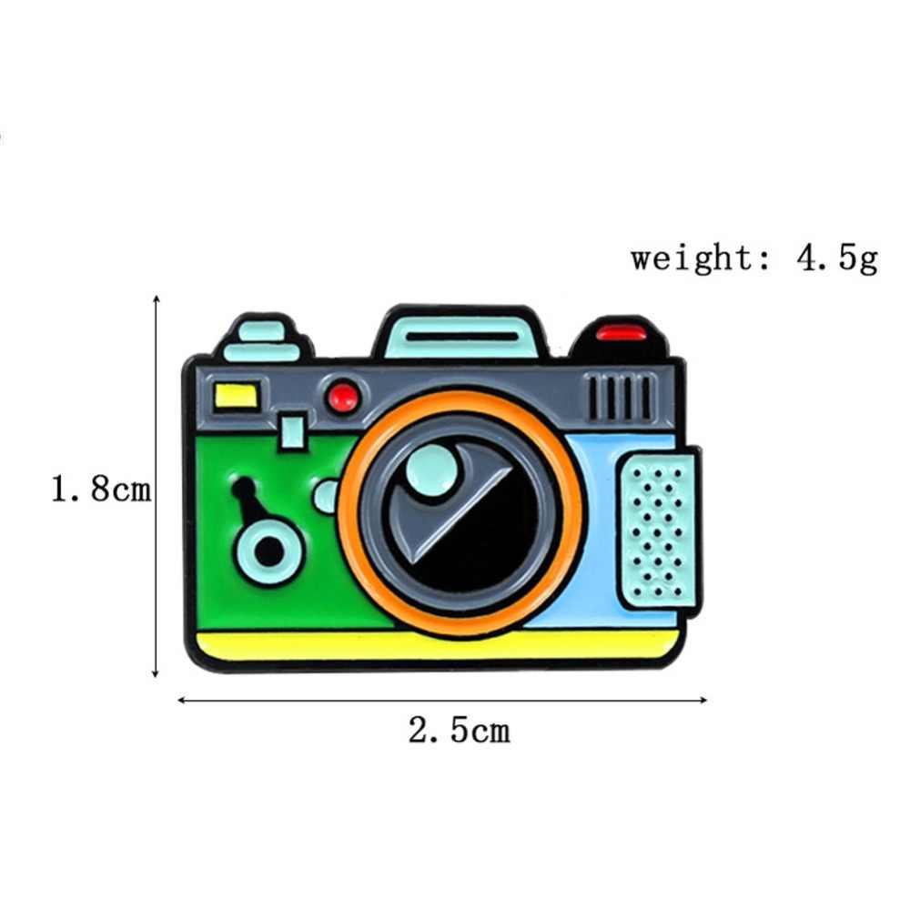 Mignon créatif Cartoon caméra broche goutte à goutte bijoux caméra broche et broche en alliage émail broche tissu sac Cap accessoire broche cadeau