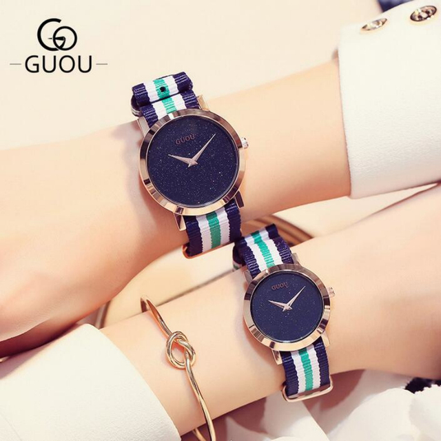 GUOU Brand Luxury Shiny Watch Men Women Watches Lovers Clock Nylon Strap Fashion