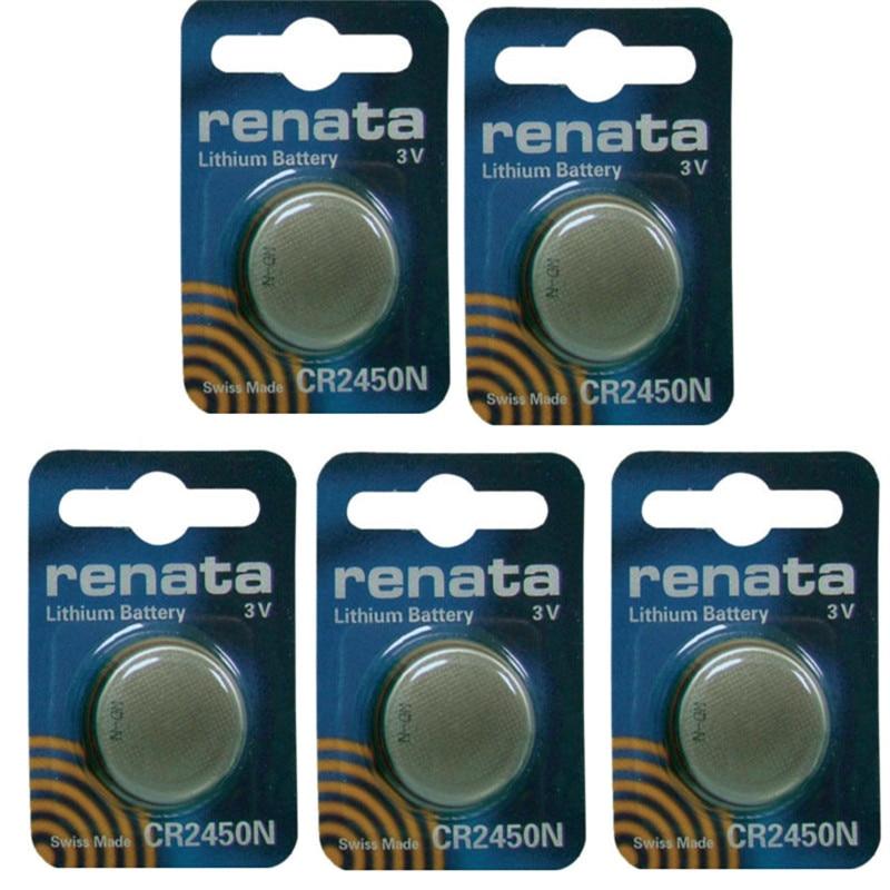 Литиевая батарея Renata CR2450 CR2450N, 5 шт./лот, 3 в, оригинальный бренд, батареи renata 2450, бесплатная доставка