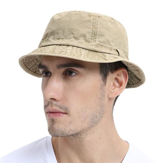 b42d6941e21093 VOBOOM Washed Cotton UV Protection Bucket Hat Men Summer Boonie Hunting  Fisherman Khaki Hats Travel Japanese Korea Sun Cap 163