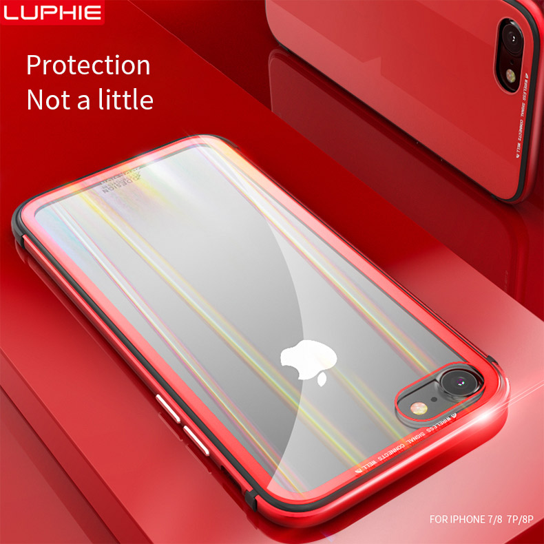 LUPHIE Aurora Laser Case For iPhone X 7 8 Plus clear glass Case (11)