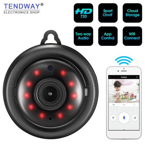 Tendway Mini Camcorders WIFI 720P IP Camera Wireless Small CCTV Infrared Night Vision Motion Detection SD Card Slot Audio APP Pakistan
