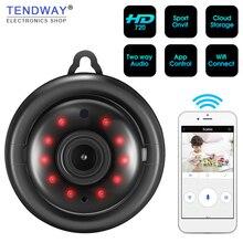 Tendway Mini kamery WIFI 720P kamera IP bezprzewodowa mała CCTV widzenie nocne z wykorzystaniem podczerwieni wykrywanie ruchu gniazdo kart SD Audio APP