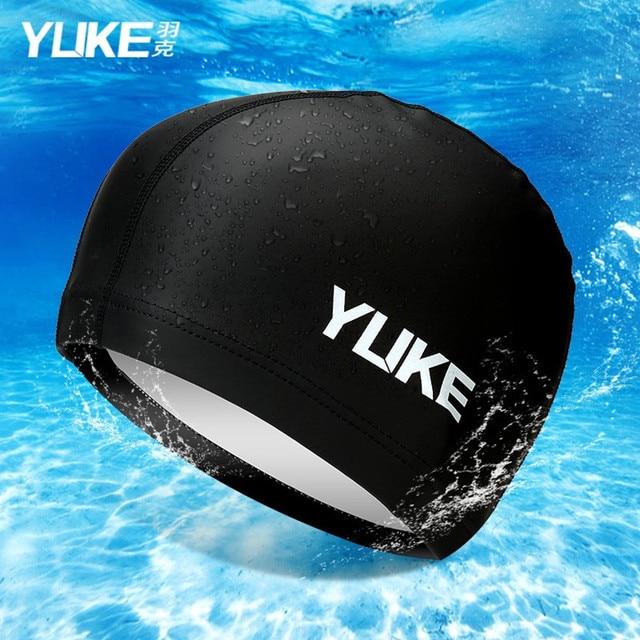 e92a3e383ec 2017 YUKE PU Silicone Waterproof Swimming Caps for Men and Women Long Hair  Swimming cap Hat Cover Ear Bone Pool